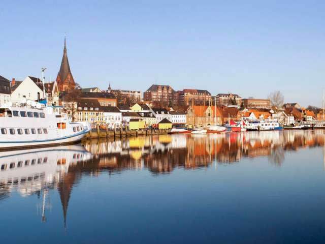 Flensborgs havnefront set fra havnespidsen