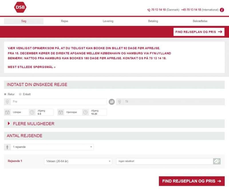 Togbilletter kan ofte bestilles online på DSB-udlands hjemmeside