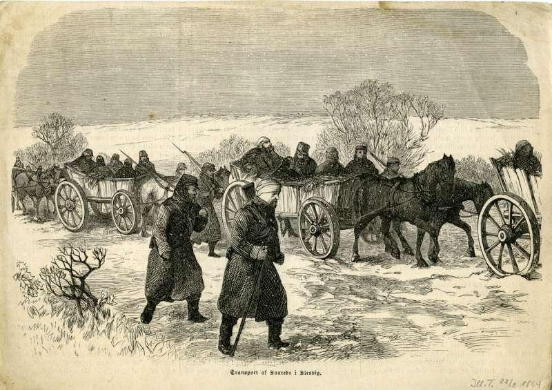 Sårede soldater efter tilbagetoget fra Dannevirke den 5. og 6. februar 1864