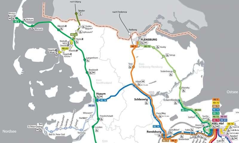 Tog i Sydslesvig i Nord-Tyskland