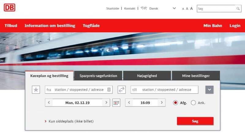 Togbilletter til Sydslesvig kan ofte være billigere på Deutsche Bahns danske hjemmeside end hvis i booker hos DSB Udland