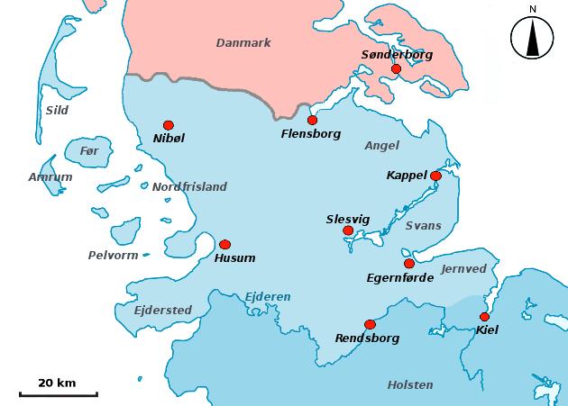 Kort over Sydslesvig.