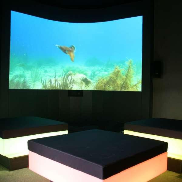Biografkuben i oplevelsesbadet Entdeckerbad på Ostsee Resort Damp