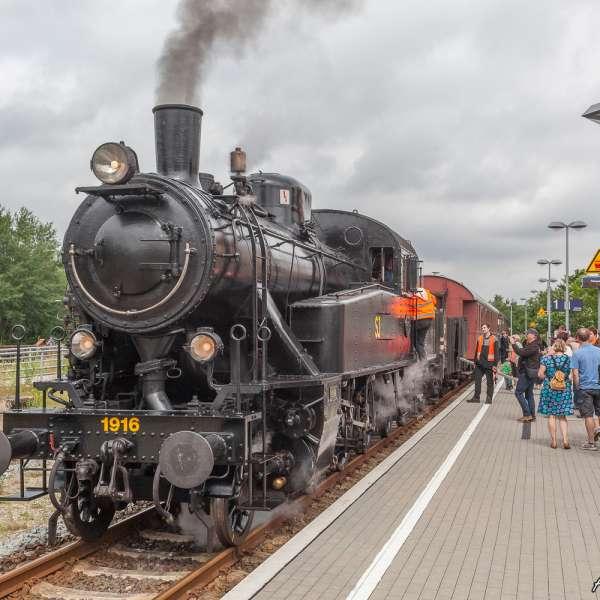 Damptoget Angelner Dampfeisenbahn på banegården i Sønderbrarup