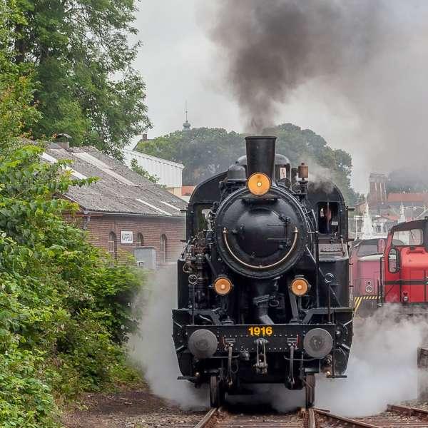 Damptoget Angelner Dampfeisenbahn på vej ud af Kappel banegård