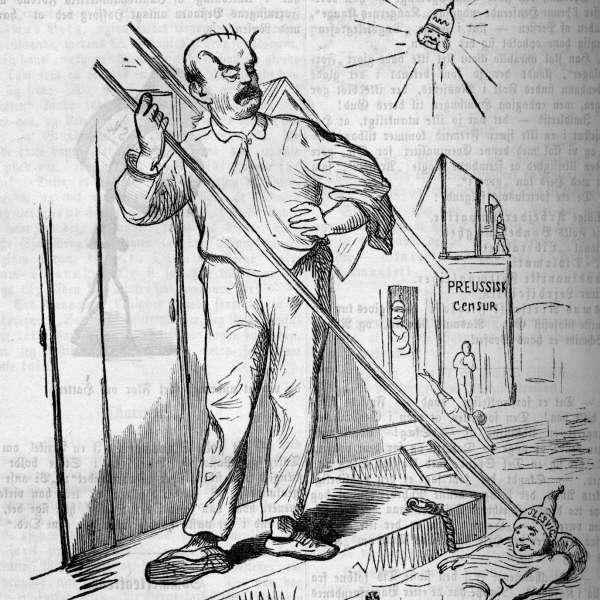Det danske mindretal i kejsertiden. Karikatur med Bismarck som bademester.