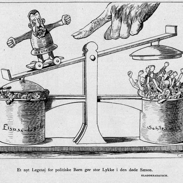 Det danske mindretal i kejsertiden. Satiretegning der illustrerer Köllers undertrykkelse af mindretallene i både Slesvig-Holsten og Elsass-Lothringen