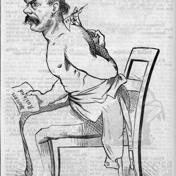 Satirisk fremstilling af § 5 som en loppe, der irriterer Bismarck