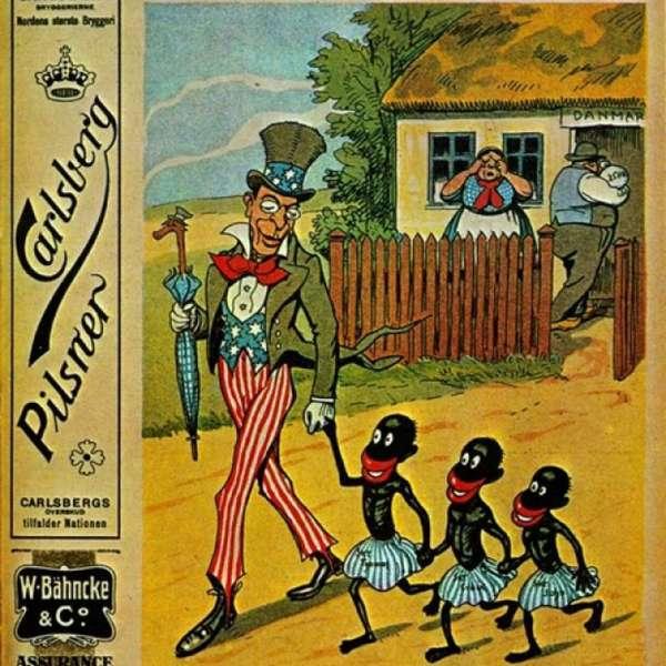 Karikaturtegning af salget af De Vestindiske Øer til USA