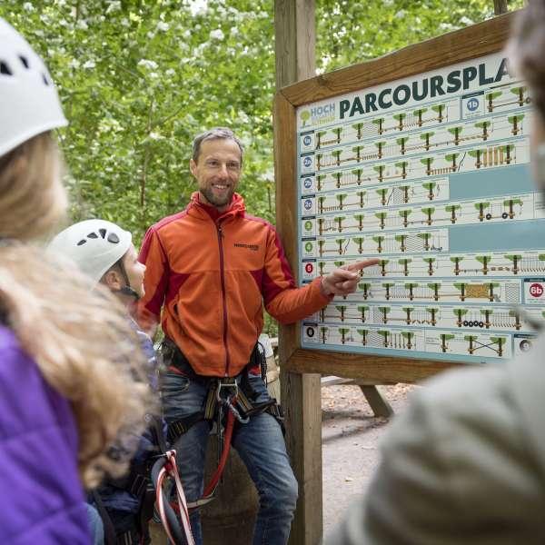 Guide forklarer de forskellige klatreopgaver for besøgende i Hochseilgarten Altenhof