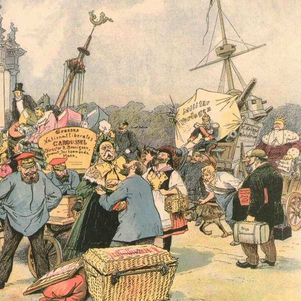 Satirisk fortolkning af Gustav Johannsens ankomst til Berlin
