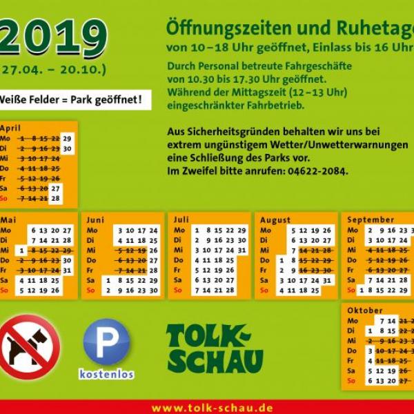 Oversigt over åbningstiderne i 2019 for Tolk-Schau-forlystelsesparken