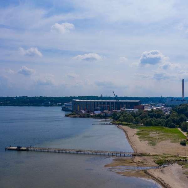 Bystranden Ostseebad i det nordlige Flensborg set fra luften