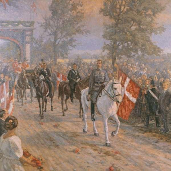 Christian X. rider over grænsen. Maleri på Sønderborg Slot.
