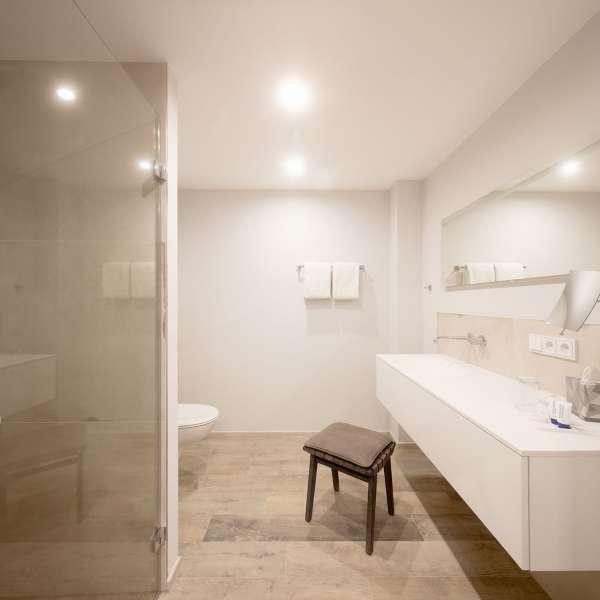 Badeværelse med brusebad på et af værelserne på Hotel Hafen Flensburg i Flensborg