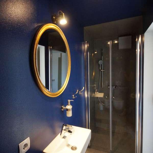 Badeværelse på et af værelserne på vandrehjemmet Seemannsheim i Flensborg