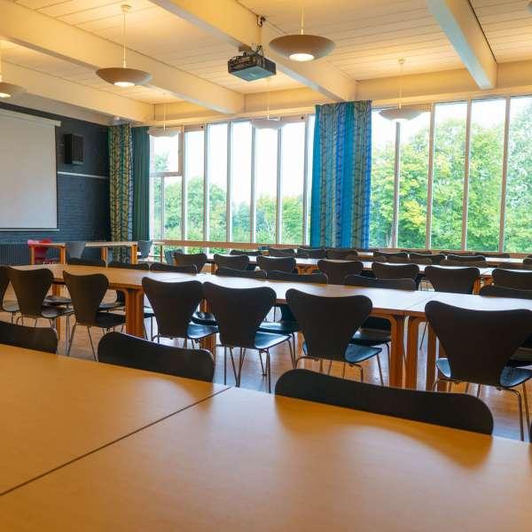 Det store kursuslokale på lejrskole- og kursuscentret Christianslyst ved Sønderbrarup