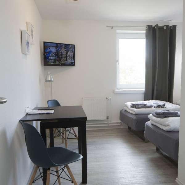 Dobbeltværelse indrettet som Twin-værelse på Flensbed Hostel and Boardinghouse i Flensborg