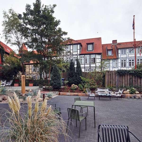 Have og nabohuse på ONNO Hotel by Norman i Rendsborg