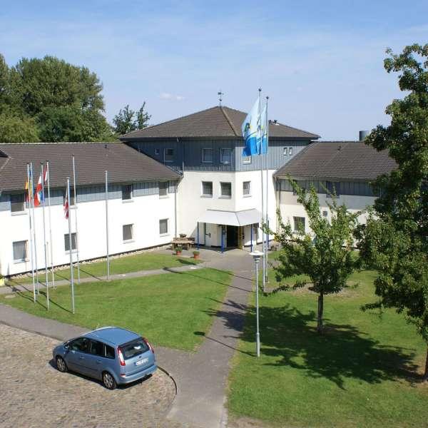 Hovedbygningen til vandrehjemmet i Borgvedel ved Slesvig