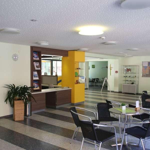 Lobby og fællesareal på vandrehjemmet i Flensborg
