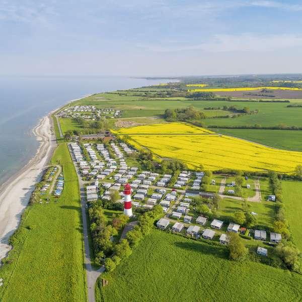 Luftbillede af Campingplatz Seehof i Pommerby ved Gelting