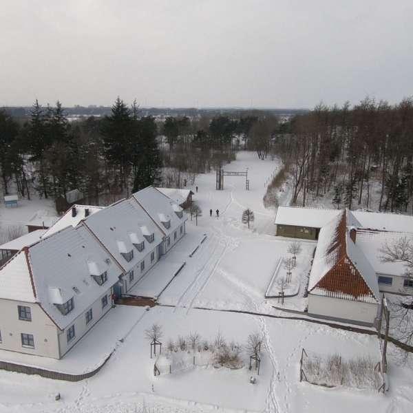 Luftbillede af Spejdergården Tydal i Eggebæk om vinteren