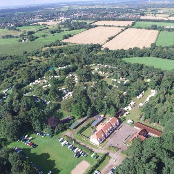 Luftbillede af Spejdergården Tydal i Eggebæk