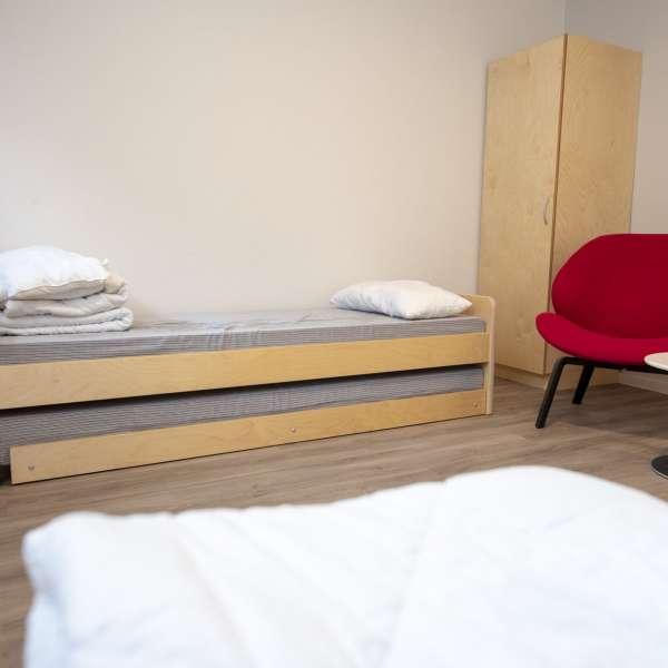 Twinværelse på lejrskolen Skipperhuset i Tønning