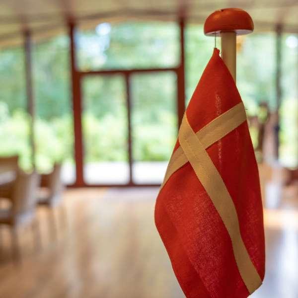 Dannebrog på Mikkelberg - Nordisk center for kunst og cricket i Hatsted