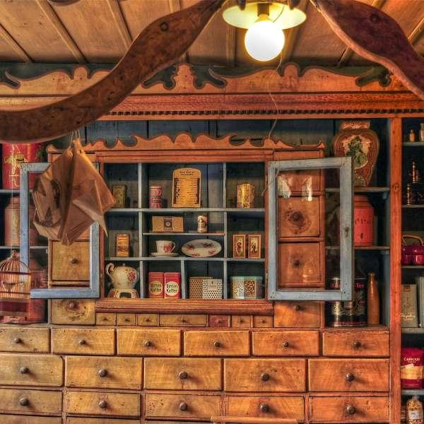 Den historiske købmandsbutik i Haus Peters i Tetenbøl