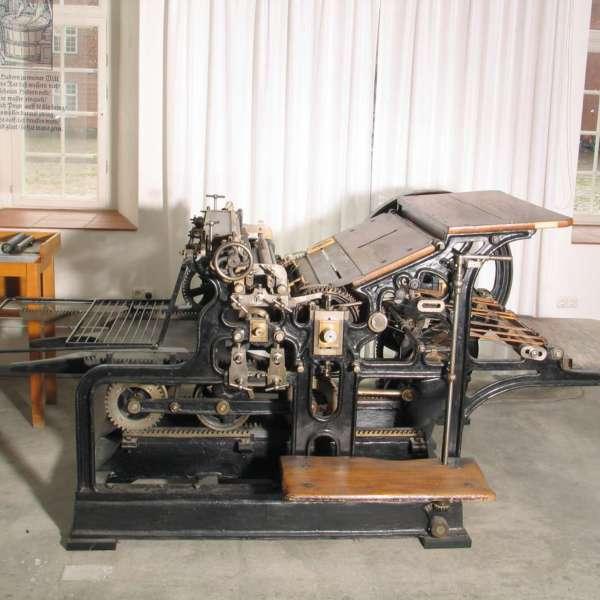 En historisk trykmaskine på Museen im Kulturzentrum i Rendsborg