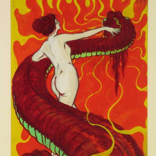"""Hans Christiansens udkast til forsiden af """"Die Jugend"""" fra 1897 på Museumsberg i Flensborg"""