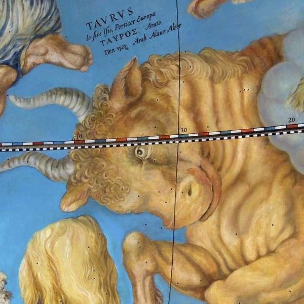 Kunstnerisk fremstilling af stjernebilledet tyren på det gottorpske Kæmpeglobus på Gottorp Slot i Slesvig