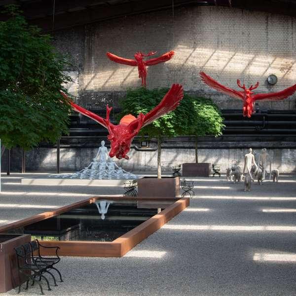 Skulpturer og installationer på kunstudstillingen NordArt i Bydelstorp