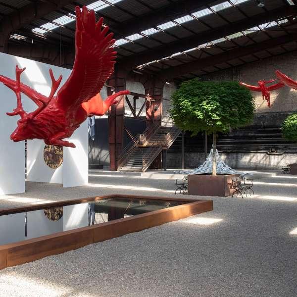 Skulpturer på kunstudstillingen NordArt i Bydelstorp