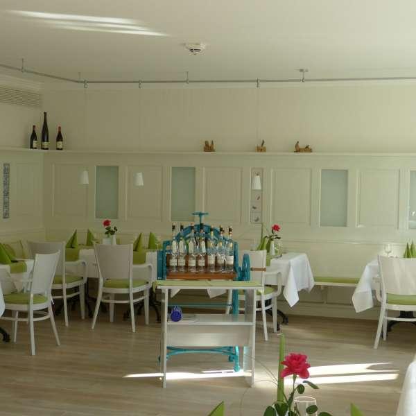 Fint dækkede borde på restauranten Handwerkerhaus i Husum