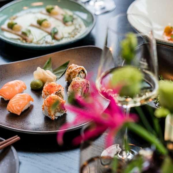 Sushi-retter på restauranten Spices by Tim Raue i ferieresorten A-ROSA på Sild